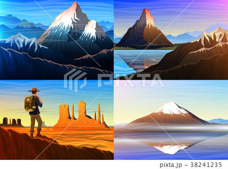 Mountain everest, matterhorn, Fuji with tourist 38241235