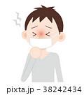 マスクをした男性 発熱 咳き込む 38242434