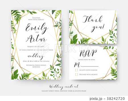 wedding floral invite rsvp thank you card templateのイラスト素材