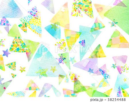 水彩 三角 コラージュ 背景素材  38254488