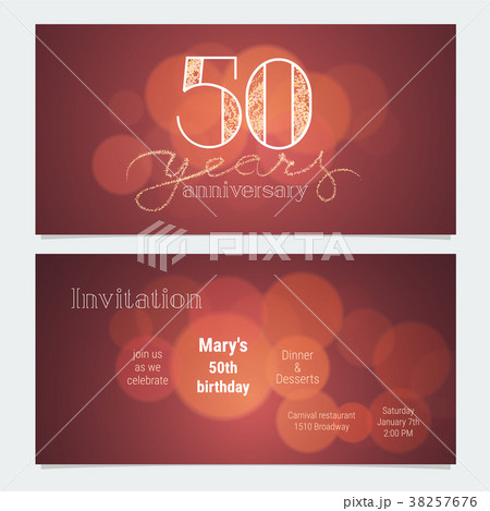 50 years anniversary invitation vectorのイラスト素材 38257676 pixta