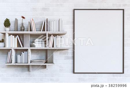 Mockup blank poster with Shelves books. 3d render 38259996