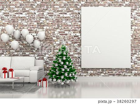 mock up poster frame Christmas interior room. 3d r 38260297