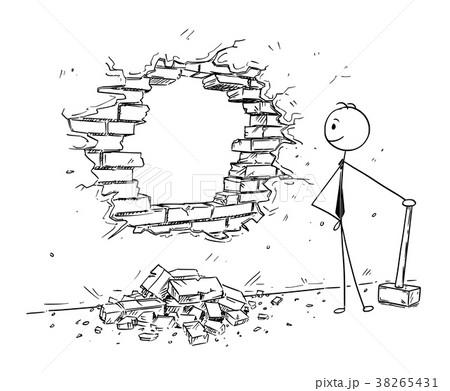Conceptual Cartoon of Businessman Breaking a Wall 38265431
