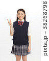 高校生 女の子 ピースの写真 38268798