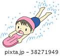 バタ足 小学生 水泳のイラスト 38271949