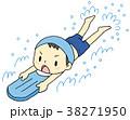 バタ足 小学生 水泳のイラスト 38271950