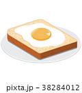 トースト 朝食 目玉焼きのイラスト 38284012