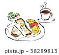 朝食 筆書き 洋食のイラスト 38289813