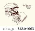ハンバーガー バーガー 食のイラスト 38304663