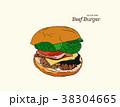 ハンバーガー バーガー 食のイラスト 38304665