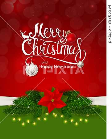 Merry Christmas and New Year Background. Vector 38306594