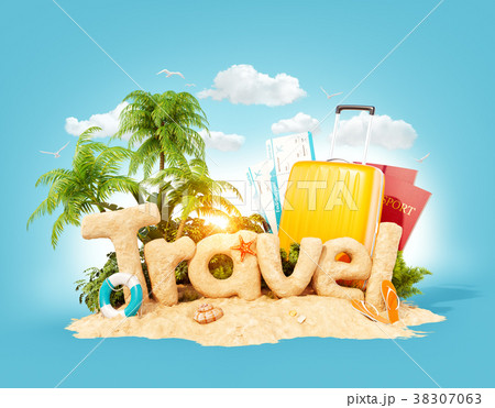 the word travel made of sand on tropical island のイラスト素材