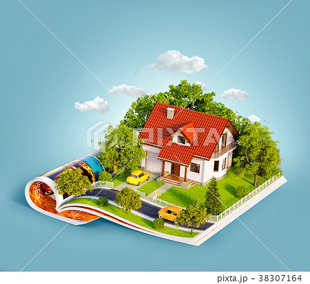 White house of dream with white fence 38307164