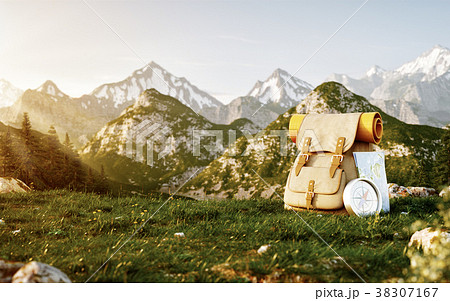 Touristic backpack with map and compass 38307167