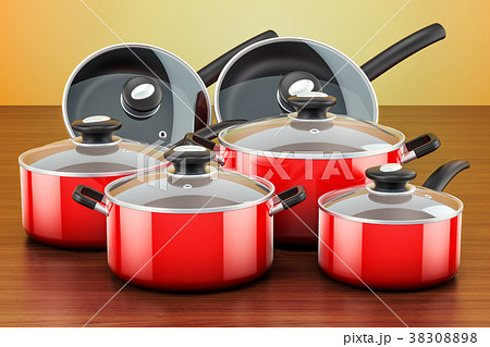 Set of cooking red kitchen utensils and cookware 38308898