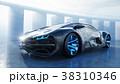black futuristic electric car on seafront. Urban 38310346