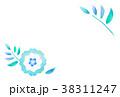 青い花のイラストのシンプルなはがきテンプレート 38311247