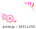 桃色の花のイラストのシンプルなはがきテンプレート 38311250