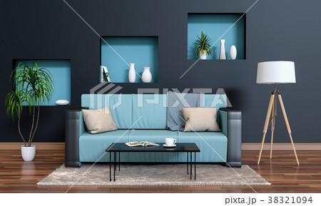 3D rendering of interior modern living room  38321094