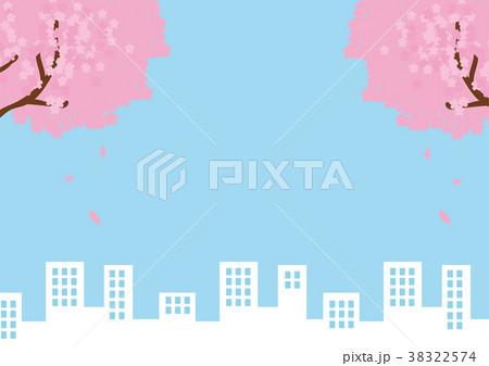 桜とビル群のメッセージイラスト素材 38322574