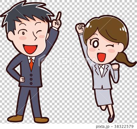 スーツを着た男性と女性のイラスト素材 38322579