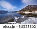 冬の中禅寺湖 東の湖岸から 湖畔の雪と凍る岸 超広角 b 男体山  38325802