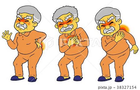 腰痛、胸痛、肩こりに苦しむシニア男性のセット 38327154