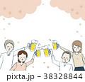 お花見 ビール 乾杯のイラスト 38328844