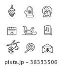 クリスマス アイコン 無色のイラスト 38333506