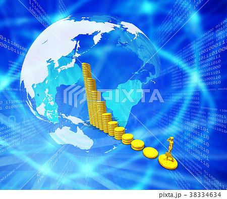 世界の金融市場は金貨の積み重ね 38334634