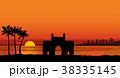 Mumbai city, India. Landmark arch Sunset skyline  38335145