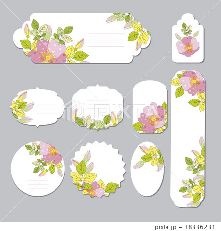 floral spring templates with cute flowers forのイラスト素材
