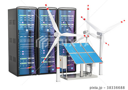 Computer server racks with solar panels 38336688