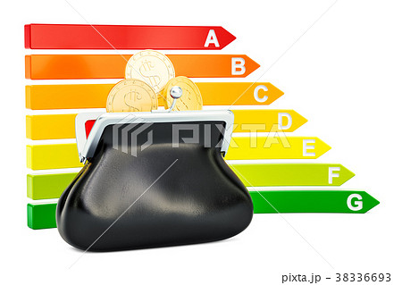Energy efficiency chart with purse 38336693