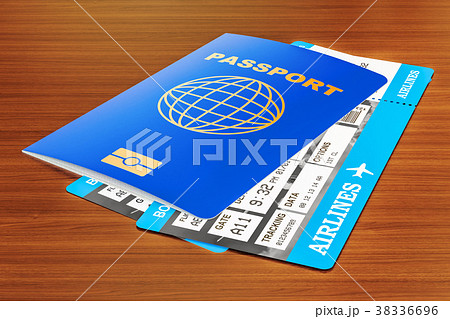 Passport and tickets on the wooden table 38336696