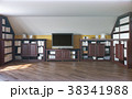 3d illustration of a home library on the attic 38341988
