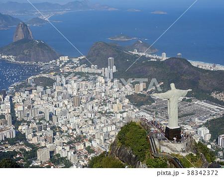 リオデジャネイロ、コルコバードのキリスト像、空撮 38342372