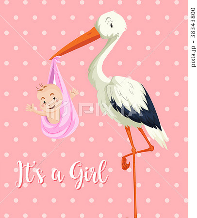stork baby with baby girl on pink backgroundのイラスト素材 38343800