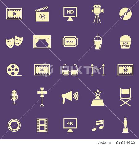 movie color icons on purple backgroundのイラスト素材 38344415 pixta
