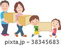 引っ越し 家族 荷物のイラスト 38345683