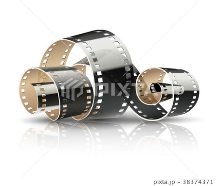 film tape twisted reel for cinema moviesのイラスト素材 38374371
