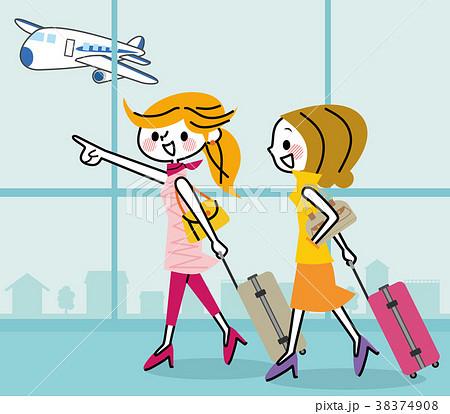 旅行 女性 空港 38374908