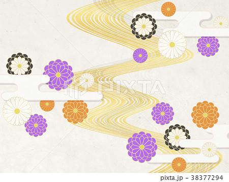 和モダン 菊の花(和紙テクスチャー) 38377294