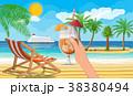 ベクトル ビーチ 樹木のイラスト 38380494