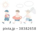 夏の子供 イラストセット 38382658