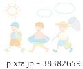 夏の子供 イラストセット 38382659