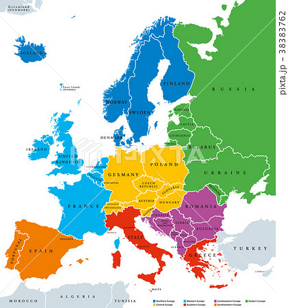 regions of europe political map single countriesのイラスト素材