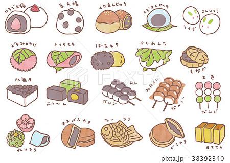 かわいい和菓子のイラスト 38392340
