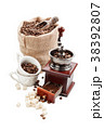 Coffee beans and ground coffee. 38392807